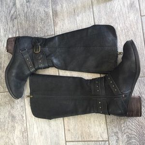 UGG Black Leather Tall Riding Boots Size 6